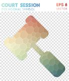 Court polygonal symbol. Appealing mosaic style symbol. bizarre low poly style. Modern design. court icon for infographics or presentation Stock Photos