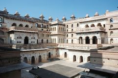 Court of the Raj Mahal palace at Orchha,India Stock Photo
