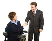 Court Reporter and Attorney Handshake Royalty Free Stock Images