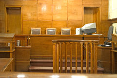 Court room. Old vintage court room. Close-up of the judges chairs stock image