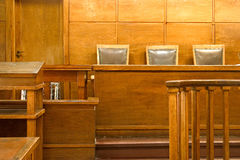 Court room. Old vintage court room. Close-up of the judges chairs stock photo