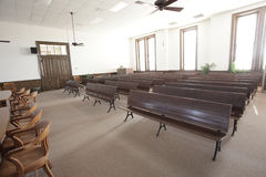 Court room. Antique court room with nobody present royalty free stock image