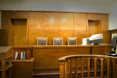 Court room. Old vintage court room with wooden furntures stock image