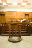 Court room. Old vintage court room. Close-up of the judges chairs royalty free stock images