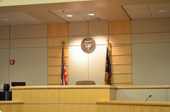 Court room. And the Judge's bench in an Oregon royalty free stock photos