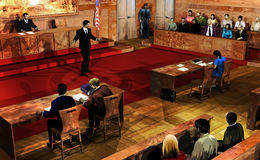 Court Room. Interior of a court room. The judge, the defendant and his lawyer, the jury, a guard, and the public are listening to the prosecutor exposing his stock images