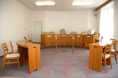 Court room. A view to an empty court room stock images