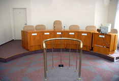 Court room. A view to an empty court room stock image