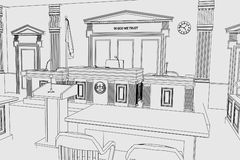Court room. Cartoon image of court room vector illustration