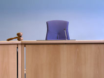 Court's room. With tables,chair and hammer stock photos