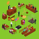 Court Session Concept 3d Isometric View. Vector. Court Session Law and Justice Concept 3d Isometric View Include of Judge, Lawyer, Jury, Defendant and Witness Stock Photos