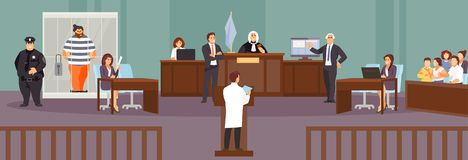 Court hearing vector. Court session in the courtroom. Judge, Prosecutor, lawyer, criminal, jury policeman Vector illustration stock illustration