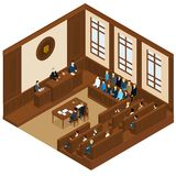 Court Session Isometric Template. With judge defendant attorney jury and witnesses vector illustration Stock Photo