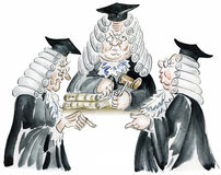 Court session. Old court session comic illustration stock illustration