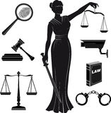 Court.Set of icons on a theme the judicial.law.Themis Royalty Free Stock Images