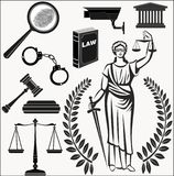 Court.Set  icons . theme  judicial.law.Themis goddess .lady justice Stock Photography