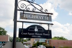 Court Square Historic District sign, Hernando, Mississippi. Stock Photography