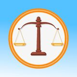 Court Symbol, Scales Flat Vector Illustration stock illustration