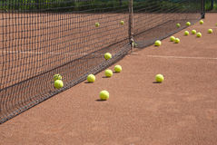 Court, tennis balls and net Royalty Free Stock Image