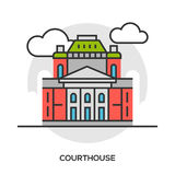 Court or tribunal, courthouse entrance exterior view. Stock Photo