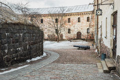 Court of Vyborg Castle on a winter morning Stock Images