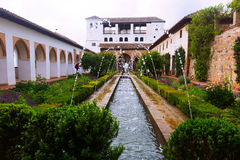 Court of the Water Channel   at Generalife. Granada Royalty Free Stock Photos