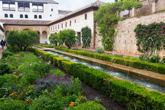 Court of the Water Channel (Patio de la Acequia ) at Generalife. Royalty Free Stock Images