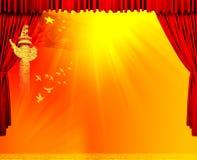 Courtains vermelhos do teatro de veludo Fotos de Stock Royalty Free