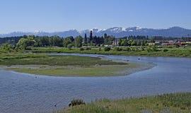 Courtenay del estuario al Mountain View Foto de archivo