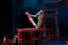 Courteous-Acrobatic show Baixi Dream Night. Baixi Dream Night tells the story of the beginning of the last century, a class acrobatic troupe and the Old Mistress Stock Photo