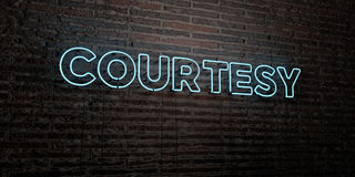 COURTESY -Realistic Neon Sign on Brick Wall background - 3D rendered royalty free stock image. Can be used for online banner ads and direct mailers Royalty Free Stock Images