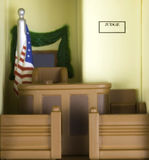 Courthouse. Miniature recreation of a Courthouse with judges chair and jury box Royalty Free Stock Image