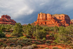 Courthouse Butte And Bells Rock Landscape Stock Photo