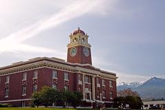 Courthouse of Clallum County, Washington. The Courthouse of Clallum County, Washington, in the city of Port Angeles, with the mountains of the Olympic National Stock Image