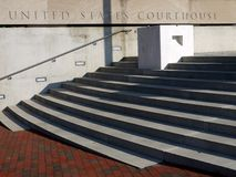 Courthouse entry steps. Stone steps at entry to United States courthouse Royalty Free Stock Image