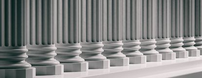 Court facade. Marble classical pillars background. 3d illustration. Courthouse facade.Marble classical pillars row with steps. 3d illustration Stock Images