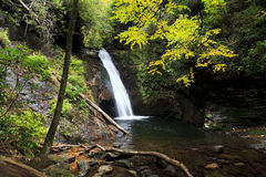 Courthouse Falls in the Pisgah National Forest stock images