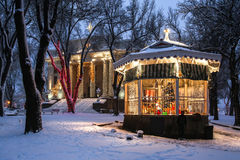 Courthouse and gazebo in the snow. Holiday lights in the fresh snow around decorated gazebo at the Yavapai County Courthouse in Prescott, Arizona royalty free stock photography