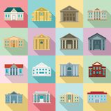 Courthouse icons set, flat style royalty free illustration