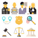 Courthouse Law Icons Set Justice Symbol Concept on Royalty Free Stock Images