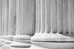 Courthouse Pillars. Column Pillars courthouse, black and white Stock Photo