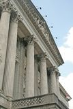 Courthouse with pillars facing the sky. A legislative building with they sky in the background royalty free stock photo