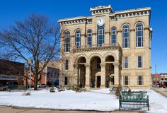 Courthouse in Snow. This is a Winter picture of the LaSalle County Courthouse in Ottawa, Illinois. The courthouse was designed by Minard Beers and was built in stock image