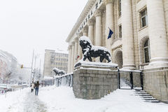 The Courthouse in Sofia,Bulgaria covered with snow Stock Photography