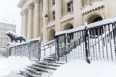 The Courthouse in Sofia,Bulgaria covered with snow Stock Photo