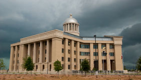 Courthouse and Storm Clouds. June 6, 2012 - Rockwall, Texas - Dark clouds surround the Rockwall County Courthouse shortly before a summer storm breaks forth Royalty Free Stock Photo