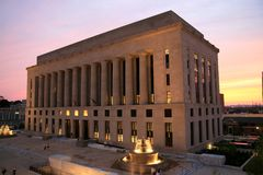 Courthouse and Sunset Stock Images