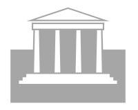 Courthouse symbol. Closeup of courthouse symbol on white background Stock Images