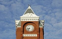 Courthouse Tower. Clock tower on old courthouse building in rural southern city Stock Photo