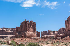 Courthouse Towers in Arches National Park, Utah. View of the Courthouse Towers in Arches National Park, Utah Royalty Free Stock Image